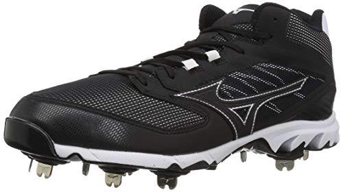 Mizuno Men's 9-Spike Dominant IC Mid Metal Baseball Cleat Shoe, Black/White, 10 D US