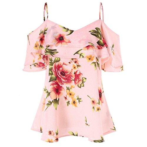 VEMOW Sommer Elegante Damen Mädchen Frauen Blumendruck Schulterfrei Hemd Sleeveless Beiläufige Partei Strand Lose Weste Tank Tops Bluse(Rosa, 46 DE/XL CN)
