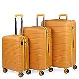 JASLEN - Juego de Maletas de Viaje Ligeras 3 Pzs. Set Trolley ABS 4 Ruedas (Cabina + Mediana + Grande) Rígidas y Resistentes. Conjunto Equipaje Avión 171200, Color Mostaza