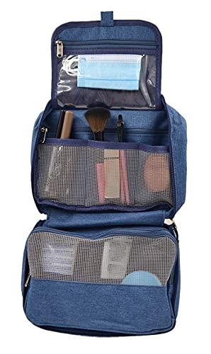 Neceser de samsonite Grande para ordenar Maquillaje pequeño con Gancho Colgante para Camping , -Organizador de brochas cosmentico de Viaje - Bolsos de Aseo Regalo para Mujer y Hombres (Azul)