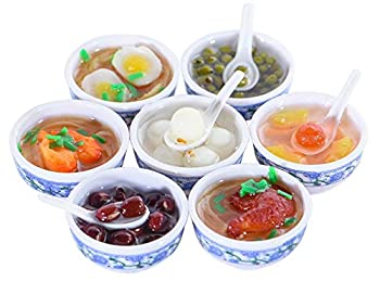 ANNI STAR Play Food for Kids Kitchen Mini Toy Food Chinese Blue and White Pottery Sweet Soup Syrup Noodle Bowls Dollhouse Accessories 7Pcs