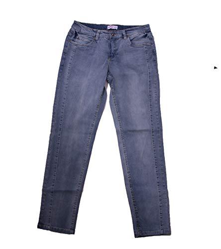 sheego Pantaloni Jeans Elasticizzati Moderni Jeans per Il Tempo Libero da Donna con Ricami Blu, Dimensione:40