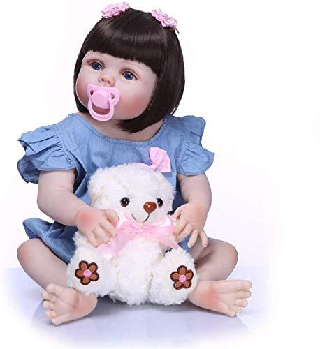 ZXYMUU 55 cm por 22 Pulgadas si Realmente Suave al Tacto en Las muñecas de Vinilo Completa de Silicona Renacido Cuerpo Corto Lavable 0-3 Real M recién Nacido de la muñeca