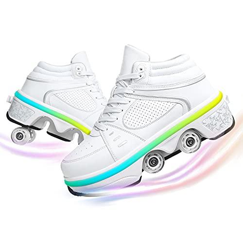 Ylmhe Patines Patines de la Rueda de deforma Zapatos de Rodillos Deformation Casual Walk Skates Hombres Mujeres Skates, 7 Colores LED Recargable