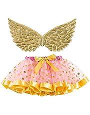 Happyyami Vestido de tutú de Princesa de Hadas con alas de ángel de Oro Falda de tutú de Punto Vestido de Princesa Cosplay de Navidad para niñas en Altura de 90-100 cm tamaño s