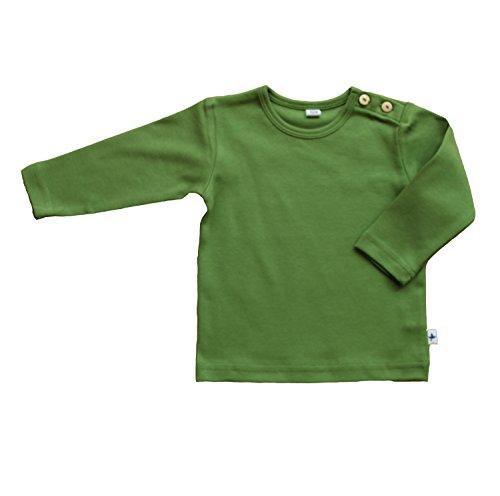 Baby Kinder Langarmshirt Bio-Baumwolle GOTS 13 Farben T-Shirt Shirt Jungen Mädchen Gr. 50/56 bis 140 (128, grün)