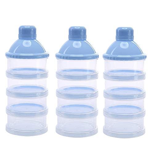 Nesloonp 3 Stück Milch Pulver Spender, 4 Schicht Formel Milchpulver-Portionierer, Säuglingsnahrung Kasten, Tragbarer Baby Milchpulver Behälter, Milchpulverspender für Reisen und Out Aktivitäten(Blau)