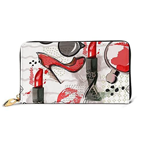 IUBBKI Cosmetic Lipstick Perfume Art Print Women's Leather Cartera Women's Clutch Handbags Wristlet Handbags Cowhide Card Cases & Money Holder Organizers