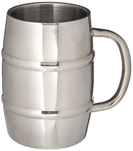 Insulated Beer Mug - Keeps Beer Ice Cold Perfect Gift for Beer Lovers - Double Wall Stainless Steel 17oz 1 Stainless Steel