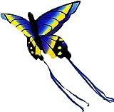 Cometas para niños Cometa Infantil Cometa de Mariposa de Material Compuesto Azul y Amarillo Hermosa Cometa Juguetes de Ejercicio al Aire Libre vacíos con Line100m / 200M Juguetes voladores TREEECFCS