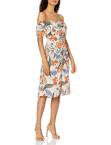 Donna Morgan Women's Off or On Shoulder Rouched Front Chiffon Dress, Ivory Multi, 12