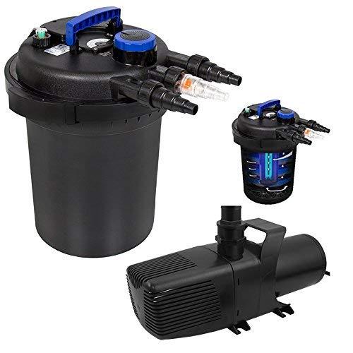 XtremepowerUS Aquarium Combo Koi Pond Bio Aquarium 13W UV-C Lamp Filter & 110V 3200GPH Pump Set