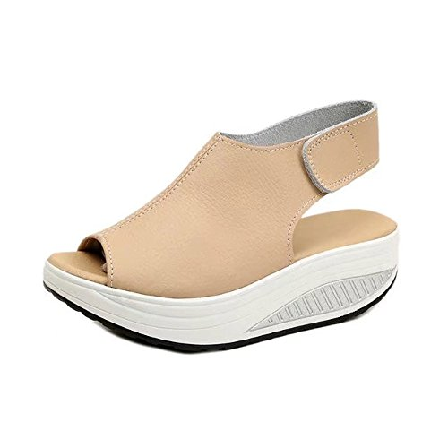 Meilleure Vente!Sandales Dames Fashion Women Shake Shoes Summer Sandals Thick Bottom HIGT Heel Shoes Beige/40 by LuckyGirls