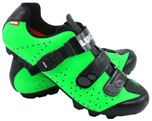 LUCK Zapatillas de Ciclismo MTB ODÍN con Suela de Carbono y Cierre milimétrico de precisión. (44 EU, Verde)