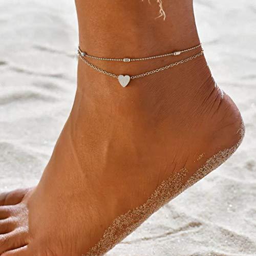 Yean Boho gelaagde enkel hart voet ketting strand voet sieraden voor vrouwen en meisjes Eén maat ZILVER