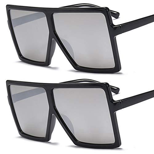 HFSKJ Paquete de 2 Gafas de Sol, Gafas de Sol con Montura Cuadrada Grande, Gafas de Sol para Mujer, Gafas de Sol de Moda para Todos los Partidos,A