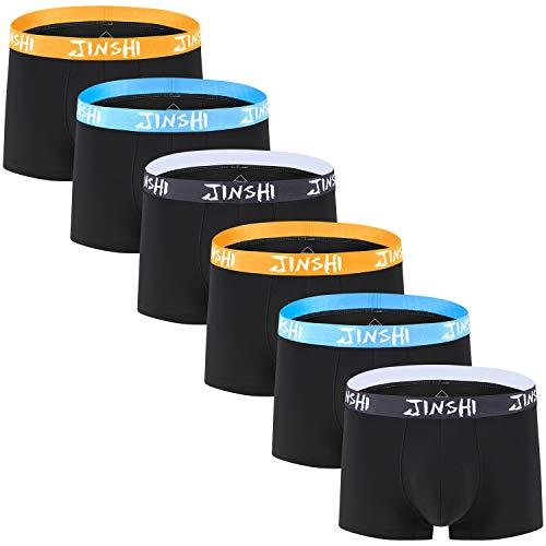 JINSHI Herren Unterhosen Boxershorts Bunt ohne Eingriff Retro Brief Bambus Weich Unterwäsche Sexy Trunks Schwarz 6er Pack 2XL