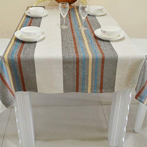 ZHUAN Mantel de Lino de algodón a Rayas Grises, Mantel de Mesa de Centro Transpirable a Prueba de Polvo, Mantel de Cocina para Sala de Estar-b 150x240cm (59x94inch)