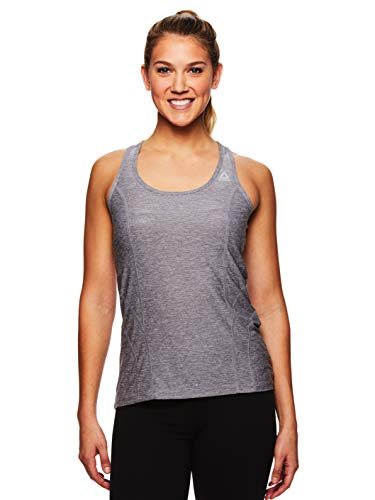 Reebok Women's Dynamic Fitted Performance Racerback Tank Top Marled Jersey Quietshade Heather XL