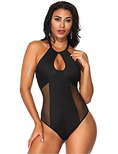 FeelinGirl Damen Retro Badeanzug Tief V Ausschnitt Rückenfrei Neckholder bauchweg Monokini