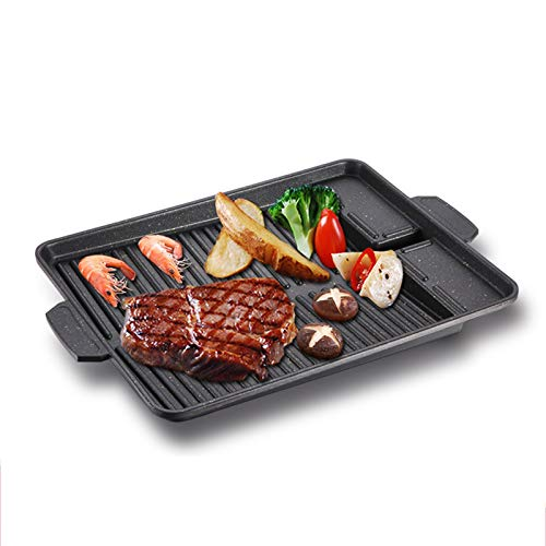 Korean-Style Square Grill Pan, Outdoor Portable Oil Spill Grill Plate Non-Stick Smokeless Barbecue Stovetop Plate for Indoor Outdoor BBQ