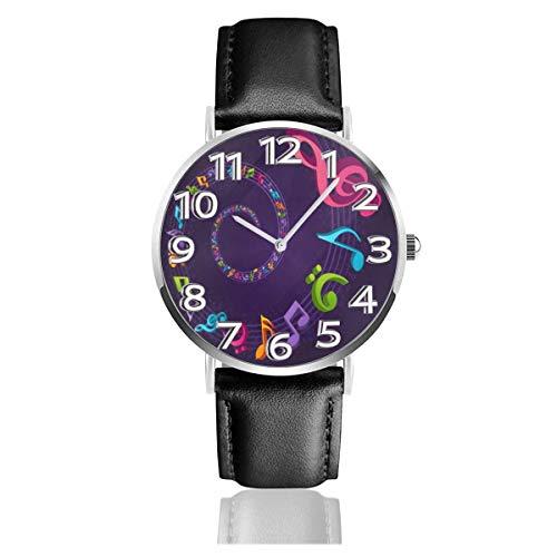 Reloj de Pulsera Música Colorida Notas de Mosca Durable PU Correa de Cuero Relojes de Negocios de Cuarzo Reloj de Pulsera Informal Unisex