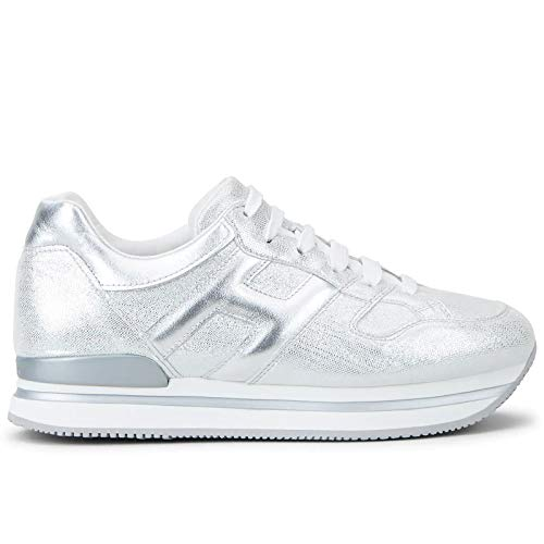 Hogan Sneakers Donna H222 Argento in Pelle - HXW2220T548 N0MB200 - Taglia 38