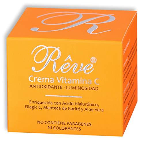 REVE Crema Facial Hialurónico y Vitamina C - Antioxidante, Luminosidad, Nutrición, Hidratación - Hombre y Mujer, Día y Noche - Cosmética natural sin parabenes - 55 ml