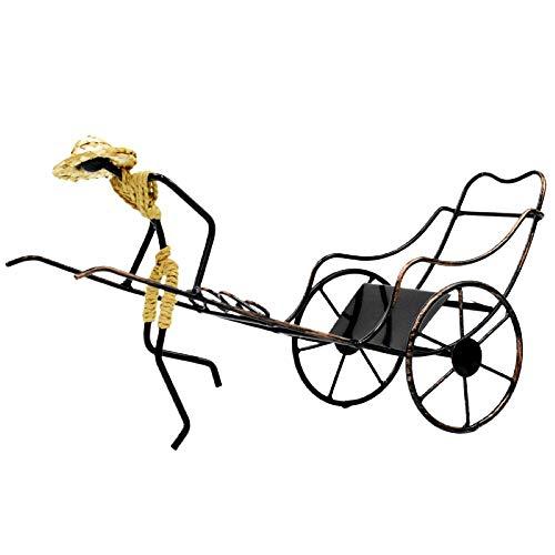 Chino Rickshaw Botelleros de hierro vintage champán soporte exhibición barra adornos mesa regalo creativo decoración del hogar