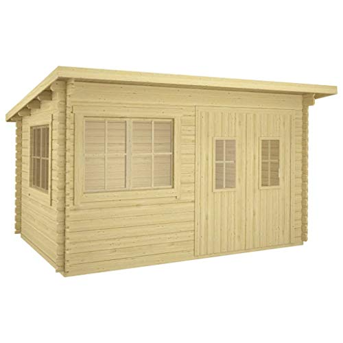 vidaXL Solid Pinewood Log Cabin Weather Resistant Heavy Duty Wooden Garden Firewood Tool Wood House Storage Shed Outdoor Timber Cabin 34 mm