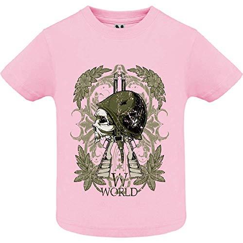 LookMyKase T-Shirt - World War Symbol - Bébé Fille - Rose - 2ans