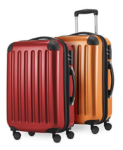 HAUPTSTADTKOFFER - Alex Kofferset - 2 x Handgepäck Hartschale Kabinenkoffer mit Erweiterung 55 cm, 42 Liter, Rot-Orange