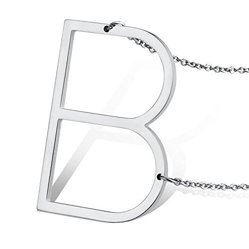 Beydodo Collar Inicial B Acero Inoxidable Collar Colgante para Mujer Hombre Iniciales Alfabeto Collar Plata