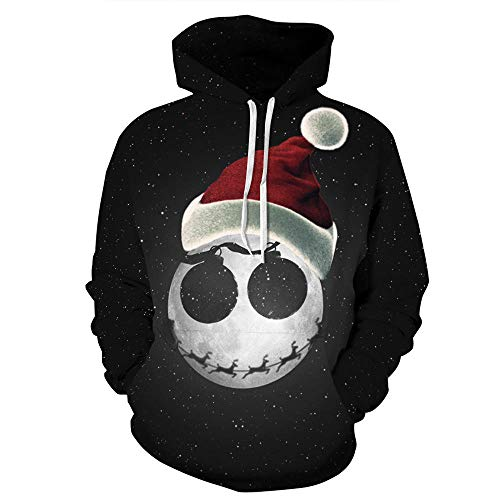 Pullover met capuchon, sterrenheldere kerstmuts, 3D digitale print, unisex, pullover tas, trekkoord, losse jack, hoodie
