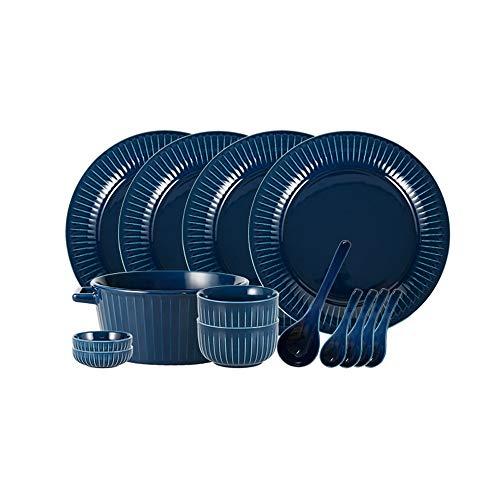 ZLSP Plato fijado for el hogar 4 personas, simple color sólido vajilla vajilla de cerámica de los amantes de la placa Tazón ZLSP (Color : Blue)