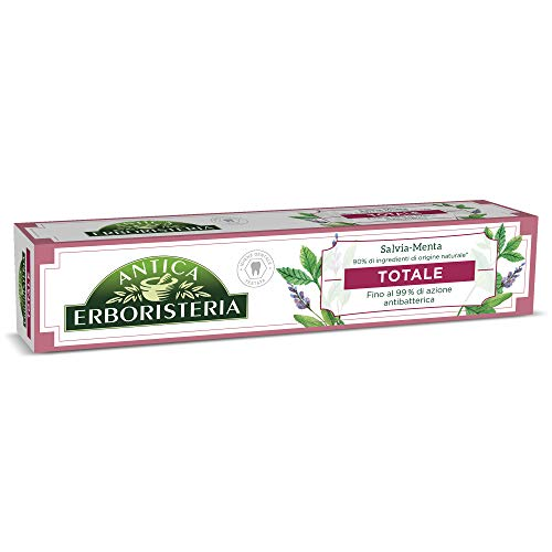 Antica Erboristeria, Dentifricio Antibatterico Totale Antiplacca con Ingredienti Naturali, Gusto Salvia e Menta, 1 x 75 ml