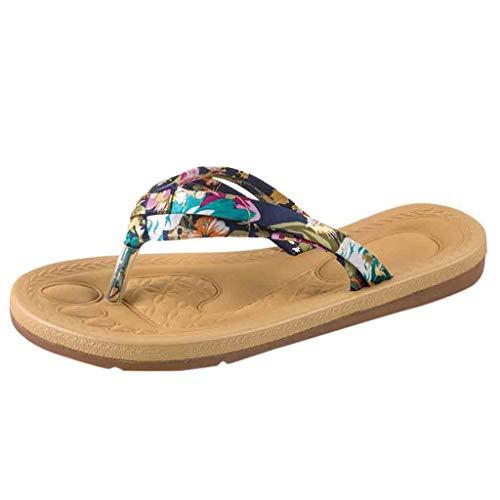 Pantoletten Damen,TIFIY Badesandale Süße Blumendruck rutschfeste Sandalen flache Strand Hausschuhe Schuhe Classic Schlappen Zehentrenner Flip-Flops (Blau,39 EU)