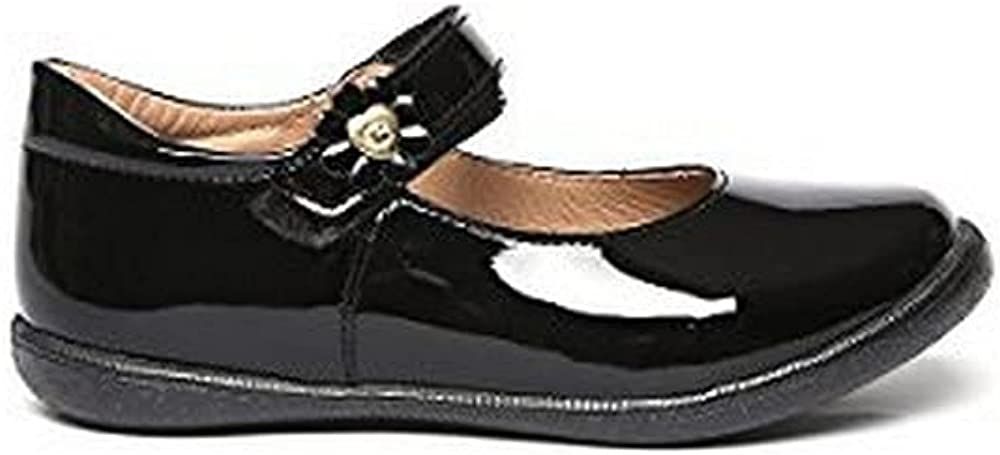 COQUETA Girls Closed Shoes with Flower on Strap and Non Slip Black Sole