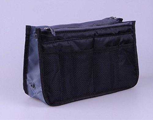 Multifunktionale tragbare Make-up Tasche Reise Kosmetik/Aufbewahrung/Kulturbeutel Federmäppchen A (Multicolor) Schwarz