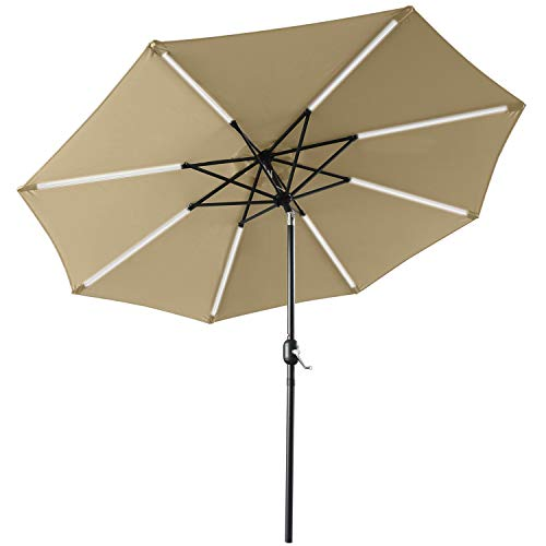 ABCCANOPY sombrilla Solar para Patio de 9 pies, Paraguas LED de 32 Luces con inclinación y manivela para Exteriores, sombrilla para jardín, terraza, Patio, Piscina y Playa, 12 + Colores