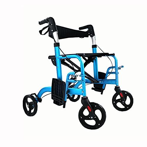 FLOOR Andador De Cuatro Ruedas con Asiento, Ayuda para Caminar Portátil, Material De Aleación De Aluminio, Se Puede Sentar, para Ancianos Y Discapacitados Proporciona Comodidad