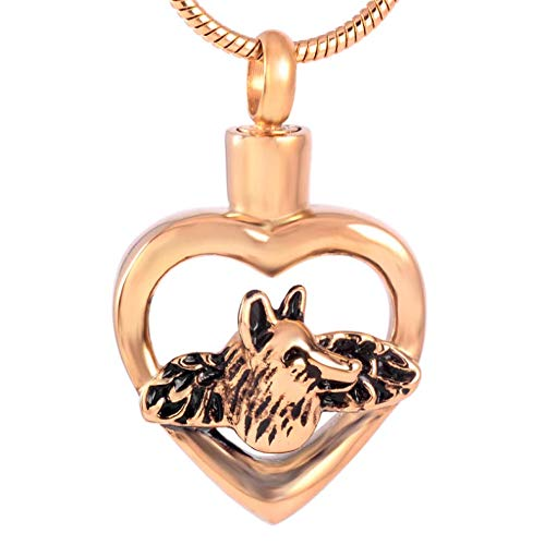 Wolf in My Heart Cremation Necklace for Ashes Holder Pet Ashes Keepsake Jewelry Memorial Urn Pendant in Stainless Steel