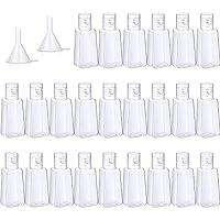24 pezzi bottiglie vuote con tappo a scatto contenitori da viaggio con bottiglia di plastica vuota 1 oz/ 30 ml con 2 pezzi imbuti di trasferimento per liquidi, lozioni, creme, shampoo e cosmetici