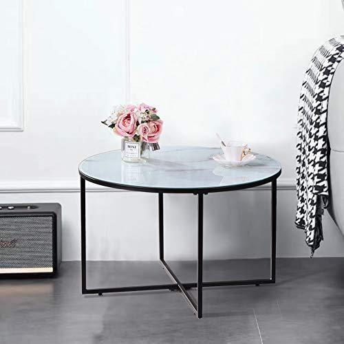 GOLDFAN Runder Couchtisch aus Glas Moderner Wohnzimmertisch Rund Beistelltisch Weiß für Wohnzimmer Schlafzimmer Büro 70×70×45 cm