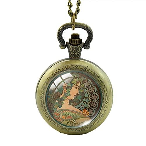 Reloj de bolsillo Pinturas artísticas Collares Cabujón de cristal Joyas Medallón Reloj de bolsillo Collar