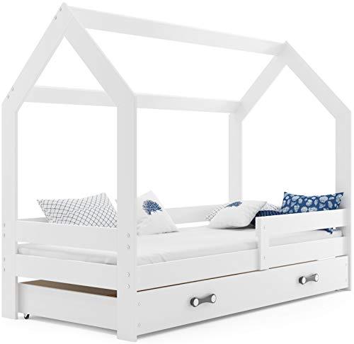 Cama infantil CASA 160x80 de mader de pino, color blanco, con somier, colchón de espuma y cajón GRATIS