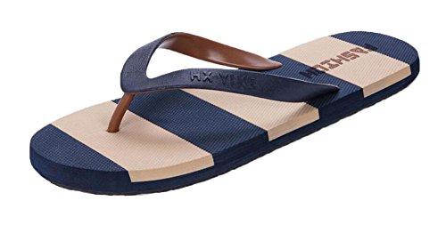 Black Temptation Chaussures décontractées d'été pour Hommes et Femmes - Rayures Bleues et Brunes