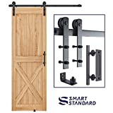 SMARTSTANDARD 5 FT Heavy Duty Sturdy Sliding Barn Door Hardware Kit, 5FT Single Rail, Black, (Whole Set Includes 1x Pull Handle Set & 1x Floor Guide) Fit 30' Wide Door Panel (I Shape Hanger)