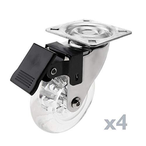 PrimeMatik - Rueda pivotante Industrial de Poliuretano y PVC Transparente con Freno 75 mm 4-Pack