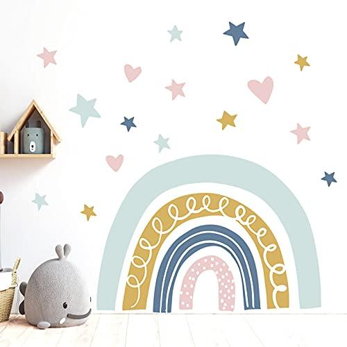 KELEOINA Vinilo infantil arcoiris, Adhesiva Pared del arco iris, 2 PCS Pegatina de pared colorida de PVC con corazón de amor y estrellas, para sala de estar de dormitorio infantil (11.8 * 35.4IN)